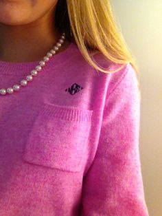Simply southern...monogrammed cashmere with pearls.