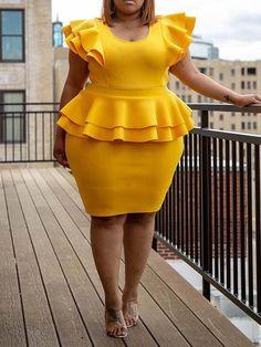 Elegant Ruffles Yellow Plus Size Bodycon Dresses African Fashion Ankara, Latest African Fashion Dresses, African Print Fashion, Dress Fashion, African Attire, African Dress, Curvy Fashion, Plus Size Fashion, Plus Size Bodycon Dresses