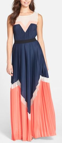 love this blue and orange color block pleated maxi dress