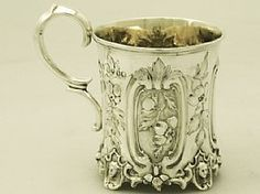 A fine antique Victorian English sterling silver christening mug; part of our silverware collection  http://www.acsilver.co.uk/shop/pc/Sterling-Silver-Christening-Mug-Antique-Victorian-45p2859.htm  .....................................Please save this pin.   ............................................................. Click on this link!.. http://www.ebay.com/usr/prestige_online