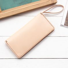 Bluecat handmade leather - slim long wallet with hand strap / hand stitching vegetable tanned leather goods by BluecatLC on Etsy