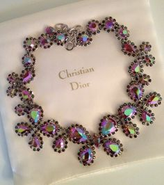Christian Dior early vintage aurora borealis rhinestone necklace
