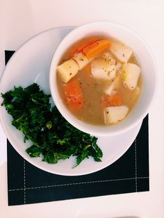 Soup Sunday: Boiled potato, carrot & parsnips in water, apple cider vinegar & oregano.  Along with pan fried (coconut oil) kale (benefits of this include hair care, skin care, stress relief, cholesterol level maintenance, weight loss, boosted immune system, proper digestion and regulated metabolism) -gluten free -low carbohydrate -dairy free -post workout