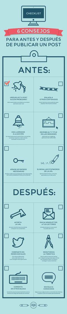 6 consejos para antes y después de publicar un post. (via @Socialmood)