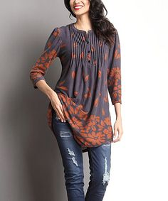 Look what I found on #zulily! Charcoal & Brown Falling Leaf Notch Neck Tunic #zulilyfinds