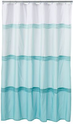 CARO Home Cotton Shower Curtain Wide Stripe Navy Blue Silver White Nautical N