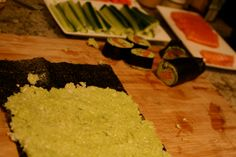 """low carb sushi """"rice"""" - cauliflower w avocado"""