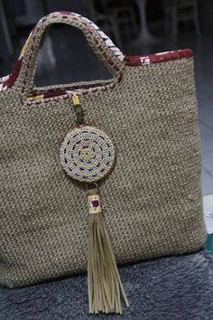 Jute fiber crochet bag with Kain Sasirangan Borneo #jutefiberbag #jute_bag…