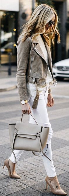 How To Wear Belts - Cute spring outfits / Grey Suede Jacket / White Skinny Jeans / Grey Leather Tote Bag / Nude Pumps - Discover how to make the belt the ideal complement to enhance your figure. Fashion Mode, Look Fashion, Street Fashion, Winter Fashion, Fashion Trends, Fashion Tips, Jeans Fashion, Fashion Spring, Fashion Ideas