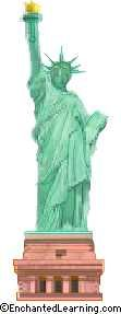 Statue of Liberty is in the New York Harbor. A gift to the USA from the people of France, recognizing the alliance during the American Revolution.