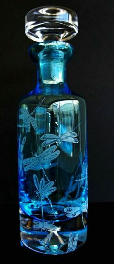 Glass art - hand engraved dragonfly decanter engraved barware etched engraved dragonflies wedding gifts home decor office decor crystal gifts Perfumes Vintage, Antique Perfume Bottles, Vintage Bottles, Blue Perfume, Glass Engraving, Hand Engraving, Crystal Gifts, Glass Crystal, Clear Glass