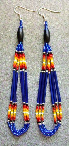 Native American Style Sapphire/Buffalo Horn Beaded Earrings