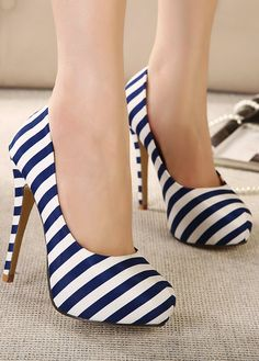Stripes high heel shoes