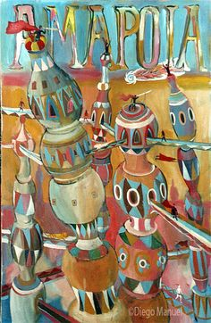 amapola. Painting for sale of the Serie Cityscape by Diego Manuel. Pintura del la Serie Ciudades en venta