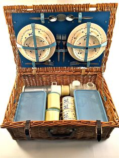 Vintage 1950s English Brexton Wicker Picnic Basket Set with China - Storeage Containers - Utensils - Thermos