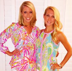 Lilly Pulitzer Elsa Top in Scuba to Cuba and the Lilly Pulitzer Tillie Silk Keyhole Halter Tank Top in Shorely Blue Double Trouble.