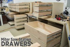 Adding Storage Drawers To The Miter Saw Station. Great DIY tutorial on how to make multiple  full extending sliding drawers,