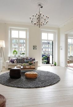 love the round shagpile rug..