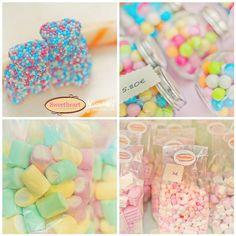 Pastel Candy by JoyHey, via Pastel Candy, Colorful Candy, Pink Candy, Types Of Candy, Candy Cart, Pastel Palette, Wedding Candy, Candy Making, Candy Shop