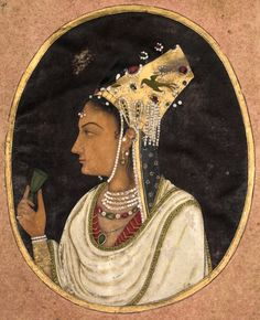 Oval Portrait of a Woman in a Chaghtai Hat, c. 1740-1750. India, Mughal Dynasty (1526-1756)