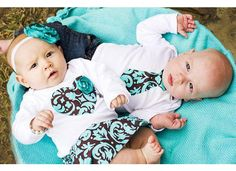 Twins Baby Set 2 matching Bodysuits INCLUDES by ChelseaRoseBaby