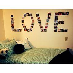 dorm decor with Polaroid pictures