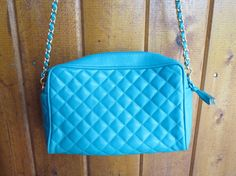Teal Green Quilted Chain Purse Bag Cross Body Vintage 80's 1980's Blue Faux Leather Hipster Indie
