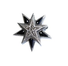 Vintage Onyx Star Brooch Sterling Silver Marcasite by silvermoonstars on Etsy
