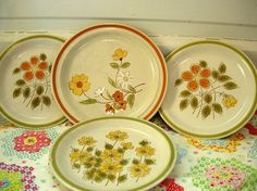 Stoneware...these were my first set of dishes. Bought them at the supermarket way back in the mid-seventies. A few pieces each week.