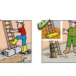 Yanlış ve Doğruları ile İnşaatta İş Güvenliği | İnşaat Gündemi Safety Slogans, Safety Posters, Safety Cartoon, Industrial Safety, Workplace Safety, Safety First, Health And Safety, Fun Facts, Comics
