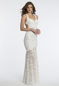 Sequin Lace Halter Dress with Side Cutouts