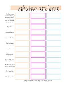 free pick a business name worksheet and other handy business printables.