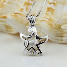 wholesale starfish 925 sterling silver locket pendant necklace with pearl 783bbf08d1b2