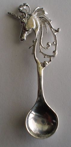Lg. Vintage Unicorn Salt Spoon Solid Sterling Silver