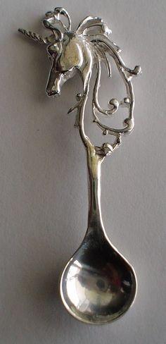 Lg. Vintage Unicorn Salt Spoon Solid Sterling Silver