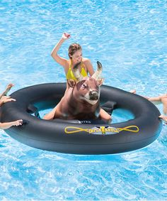 """Bring the rodeo to the pool with this floating 'inflatabull.' Grab some friends, blow it up, and ya'll will be yelling, ''Giddyup,"""" all day long.94'' W x 32'' H x 77'' DPVCImported"""
