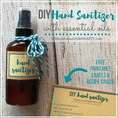 Sanitizer Spray with essential oils Simple DIY hand sanitizer spray recipe + free printable labels & recipe cards. Learn which essential oils are best for hand sanitizers with antiseptic, antiviral, antibacterial, and antimicrobial properties Diy Deodorant, After Sun Spray, Homemade Sunscreen, Essential Oil Spray, Thing 1, Diffuser Blends, Recipe Cards, Printable Labels, Free Printables