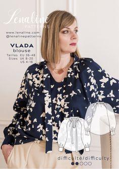 Patron de couture/ sewing pattern Blouse Blouse Ample, Look Plus, Romantic Look, Wide Pants, Belted Dress, Couture, Casual Looks, Sewing Patterns, Bell Sleeve Top