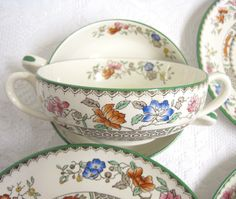 Set of Six Vintage Copeland Spode Handled Soup Bowls with Plates, Chinese Rose, Green Trim by TheWhistlingMan on Etsy SOLD