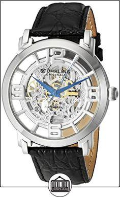 Stuhrling Original 165B.331554 - Reloj analógico automático para hombre con correa de piel, color negro de  ✿ Relojes para hombre - (Gama media/alta) ✿