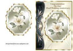 Ivory Magnolias Art Nouveau Card Front - Pearl Wedding