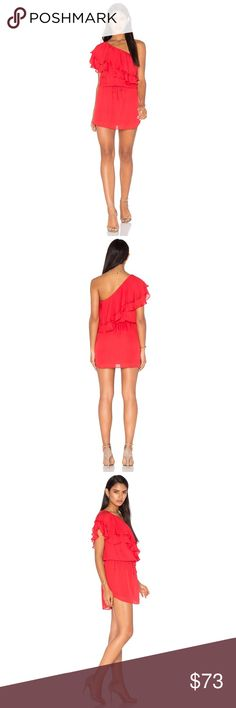 39ba3ddd1b1e Haute hippie One Shoulder Ruffle Dress NWOT Size- S Color- Battle Red (True