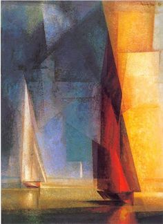 Lyonel Feininger, Stiller Tag am Meer III, 1929 Expressionismus in Deutschland - Art Abstract Landscape, Abstract Art, Popular Paintings, Picasso Paintings, Nautical Art, Am Meer, Art Plastique, Art Gallery, Fine Art