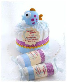 Mini gateau de couches garçon bébé nageur - Babys Cakes boutique