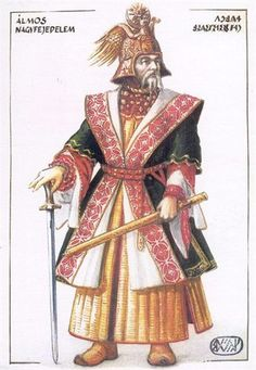 "Grand Prince Álmos of Hungary - Álmos, according to Gesta Hungarorum, was freely elected by the heads of the seven Hungarian tribes as their ""leader and master"". Hungary History, Grand Prince, Heart Of Europe, Early Middle Ages, Austro Hungarian, Dark Ages, Historical Pictures, My Heritage, Fashion History"