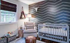 Baby Nursery:Awesome Modern Baby Nursery Cevron Wall Ornament Baby Toys Wall Accent Motive Carpet Gray Rug Pattern Baby Toys Nursery Storage Singgle Comfy Brown Chair Cushion Unique Circle Table Bedcover Wooden Laminate Flooring Wonderful Baby Nursery Ideas That Design - Conscious Adults Will Absolutely Love