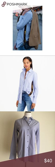 J. Crew Sequin Button Down NWOT Blue button down with contrasting gold side stripes by J. Crew. Great holiday piece, can be worn alone or layered with a sweater. Never worn. J. Crew Tops Button Down Shirts