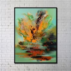 Contemporary Wall Art Colorful Abstract Printing with Black Frame 36