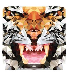 #Geometric #vector tiger #illustration by Hope Little