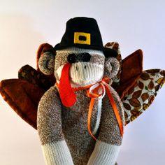 Sock Monkey Turkey Doll Thanksgiving by MarysMonkeys on Etsy, $48.00